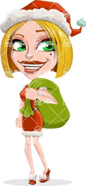 Santa Girl Cartoon Vector Character - With Sack full of Christmas Presents