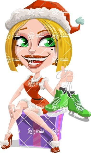 Santa Girl Cartoon Vector Character - With Winter Skates