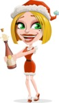 Santa Girl Cartoon Vector Character - Celebrating With Champagne