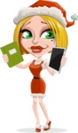 Santa Girl Cartoon Vector Character - Choosing Between a Book and a Modern Tablet Reading