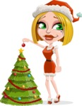 Santa Girl Cartoon Vector Character - Decorating Christmas Tree