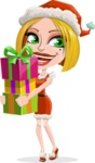 Santa Girl Cartoon Vector Character - Giving Christmas Presents