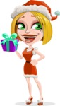 Santa Girl Cartoon Vector Character - Holding a Gift