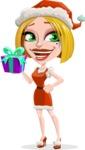 Santa Girl Cartoon Vector Character - Holding a Gift
