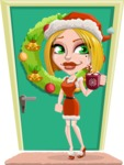 Santa Girl Cartoon Vector Character - On a House Door Illustration