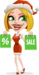 Santa Girl Cartoon Vector Character - On Christmas Sale