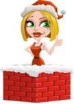 Santa Girl Cartoon Vector Character - Popping out of a Chimney