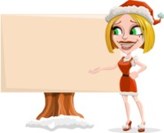 Santa Girl Cartoon Vector Character - Presenting on a Blank Whiteboard for Christmas