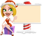 Santa Girl Cartoon Vector Character - Showing a Blank Christmas Sign