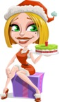 Santa Girl Cartoon Vector Character - With a Cake for Christmas
