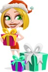 Santa Girl Cartoon Vector Character - With Christmas Gifts