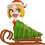 Santa Girl Cartoon Vector Character - With Christmas Tree on a Sleigh