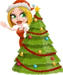 Santa Girl Cartoon Vector Character - With Cool Christmas Tree