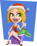 Santa Girl Cartoon Vector Character - With Flat Background Illustration