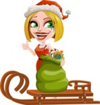 Santa Girl Cartoon Vector Character - With Sleigh and Sack with Gifts