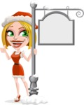 Santa Girl Cartoon Vector Character - With Steet Sign