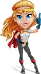 Female Superhero Cartoon Vector Character AKA Starshine Megagirl - Attention
