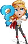 Female Superhero Cartoon Vector Character AKA Starshine Megagirl - Question
