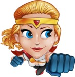Female Superhero Cartoon Vector Character AKA Starshine Megagirl - Fly 2