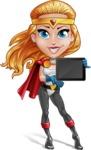 Female Superhero Cartoon Vector Character AKA Starshine Megagirl - Tablet 1