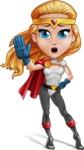 Female Superhero Cartoon Vector Character AKA Starshine Megagirl - GoodBye