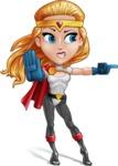 Female Superhero Cartoon Vector Character AKA Starshine Megagirl - Angry 2