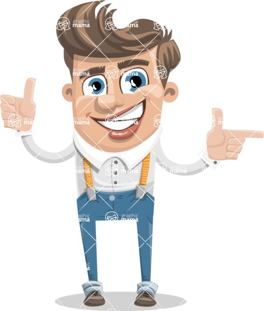 Funny Young Man Cartoon Vector Character AKA Spencer - Point 2