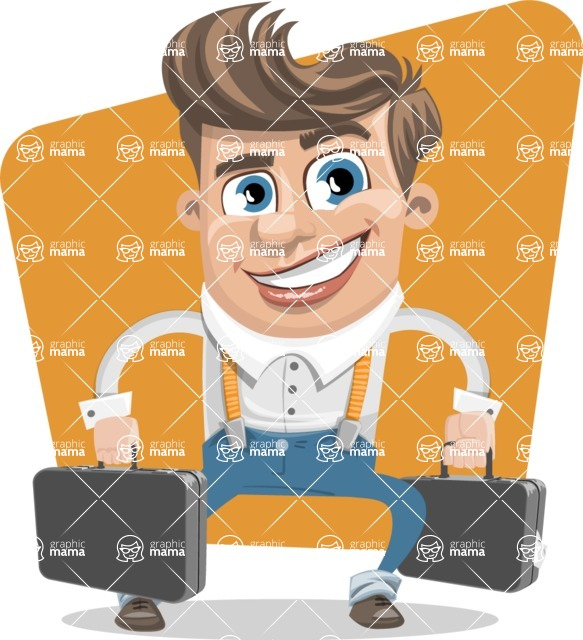 Funny Young Man Cartoon Vector Character AKA Spencer - shape7