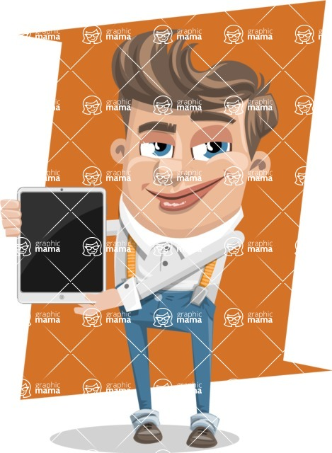 Funny Young Man Cartoon Vector Character AKA Spencer - shape10
