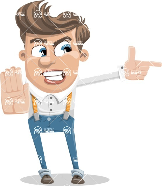Funny Young Man Cartoon Vector Character AKA Spencer - Direct Attention 2