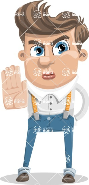 Funny Young Man Cartoon Vector Character AKA Spencer - Stop 1