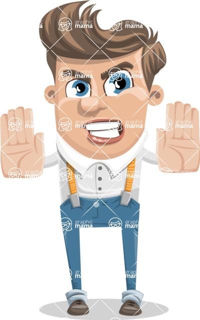 Funny Young Man Cartoon Vector Character AKA Spencer - Stop 2