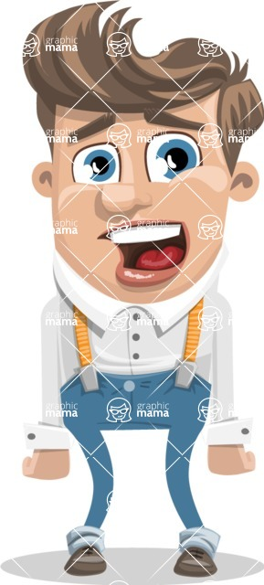 Funny Young Man Cartoon Vector Character AKA Spencer - Stunned
