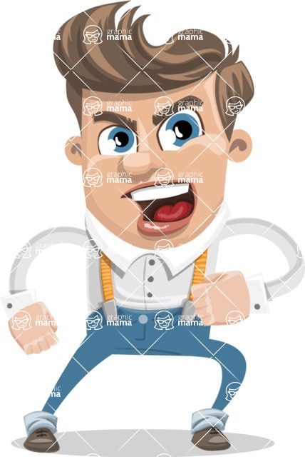 Funny Young Man Cartoon Vector Character AKA Spencer - Angry