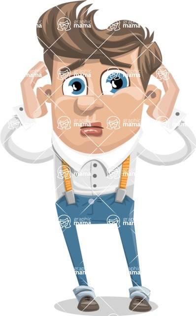 Funny Young Man Cartoon Vector Character AKA Spencer - Confused
