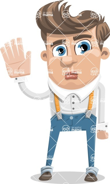 Funny Young Man Cartoon Vector Character AKA Spencer - Goodbye