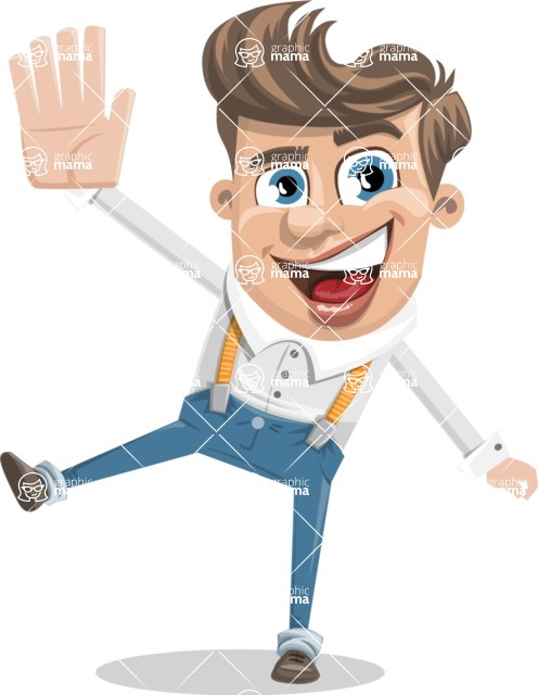 Funny Young Man Cartoon Vector Character AKA Spencer - Hello