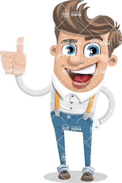 Funny Young Man Cartoon Vector Character AKA Spencer - Thumbs Up