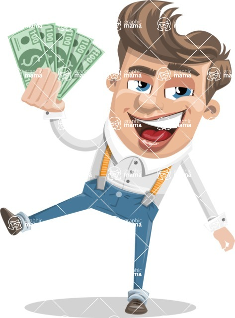 Funny Young Man Cartoon Vector Character AKA Spencer - Show me the Money