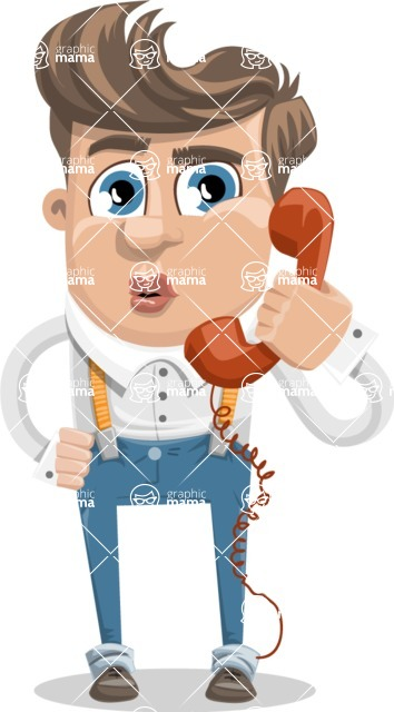Funny Young Man Cartoon Vector Character AKA Spencer - Support 1