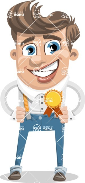 Funny Young Man Cartoon Vector Character AKA Spencer - Ribbon