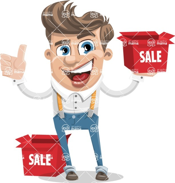 Funny Young Man Cartoon Vector Character AKA Spencer - Sale 1