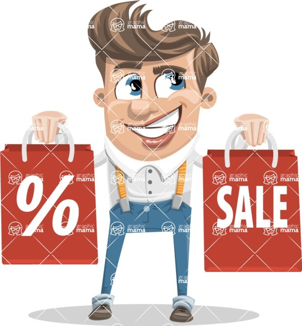 Funny Young Man Cartoon Vector Character AKA Spencer - Sale 2