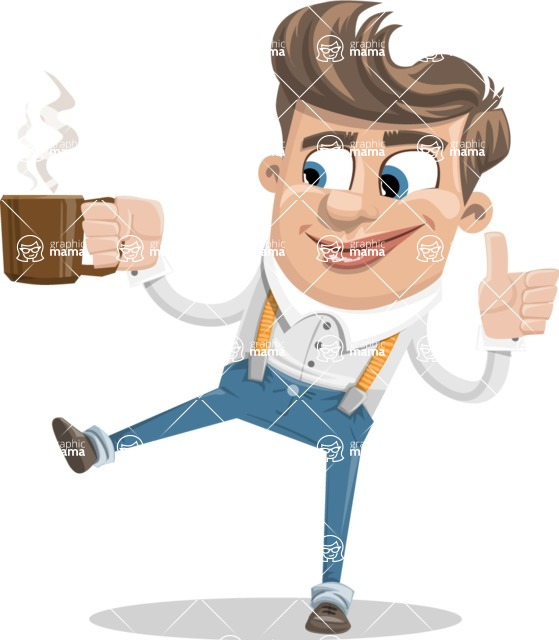 Funny Young Man Cartoon Vector Character AKA Spencer - Coffee