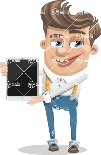 Funny Young Man Cartoon Vector Character AKA Spencer - iPad 1