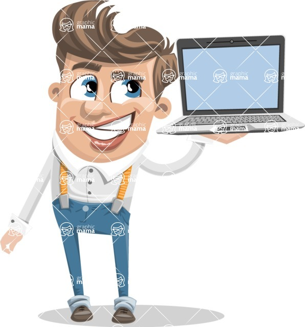 Funny Young Man Cartoon Vector Character AKA Spencer - Laptop 3