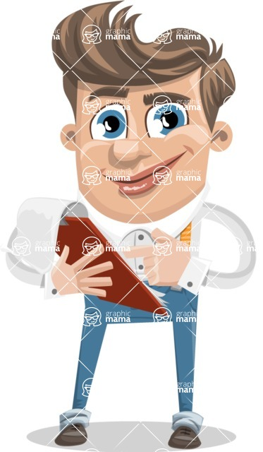 Funny Young Man Cartoon Vector Character AKA Spencer - Notepad 3