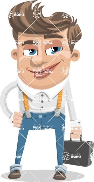 Funny Young Man Cartoon Vector Character AKA Spencer - Brifcase 1