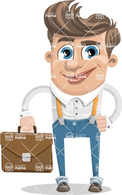 Funny Young Man Cartoon Vector Character AKA Spencer - Brifcase 2