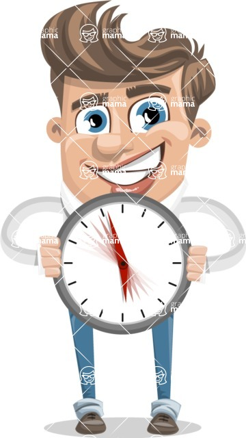 Funny Young Man Cartoon Vector Character AKA Spencer - Time is Yours